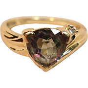 Gorgeous Mystic Topaz Ring with Diamond Accent in 14K Yellow Gold