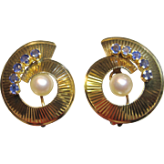 Vintage Shell Like Clip On Earrings with Pearl & Sapphires in 14K Yellow Gold