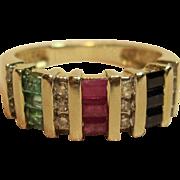 Fascinating Natural Multi Gemstone Ring in 14K Yellow Gold