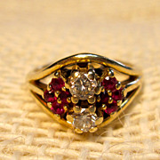 Lovely Vintage Diamond and Ruby Ring in 14K Yellow Gold