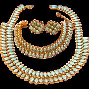 Stunning Vintage Demi-Parure Kramer Faux Turquoise Set Circa 1950's- 1960's