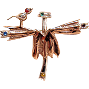 Adorable Sterling Silver Scarecrow Pin With A Bird Sitting On The Shoulder