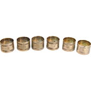 "Set of 6 Antique Silverplated Rose Motif Napkin Rings by ""Wurttembergische Metalwaren Fabrik"" (WMF)"