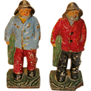"""Pair of Antique Cast Iron """"Old Salt"""" Fisherman Bookends/doorstop by Hubley circa 1920's"""