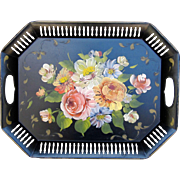 Vintage Toleware Tray with Hand Painted Floral Design Circa 1950's