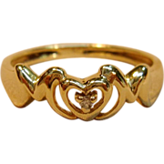 Adorable M-O-M Ring with a Diamond Accent in 10K Yellow Gold
