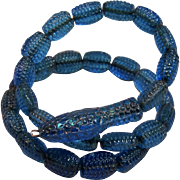 Rare Antique Czech Glass Beaded Snake Coiled Bracelet