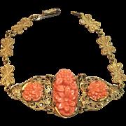 Vintage Faux Coral Filigree Bracelet