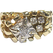 Vintage Nugget Diamond Ring in Solid 14K Yellow Gold