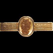 Vintage Cameo Tie Clip in Sterling Silver