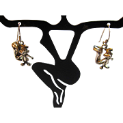 Vintage Pepé Le Pew 3D Dangle Earrings in Sterling Silver by WB