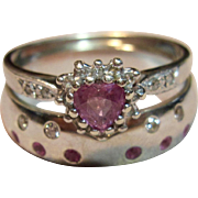 Dazzling Vintage Pink Tourmaline & Diamond Wedding Set in 9K White Gold