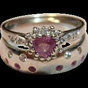 Dazzling Vintage Pink Tourmaline & Diamond Wedding Set in 9K White Gold