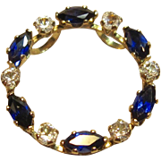 Open Circle Blue & White Sapphire Pendant in 10K Yellow Gold