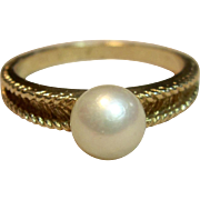 Charming Pearl Ring in 14K Yellow Gold