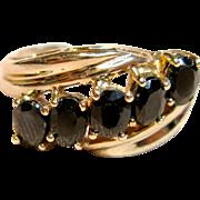Classic Yet Elegant Sapphire Ring in 10K Yellow Gold
