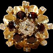Superb Vintage Floral Design Diamond Ring With Garnets