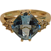 Incredible Cushion Cut Blue Topaz Ring with Diamond Accents in 14K Yellow Gold