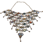 Work of Art 7 Tier Bib Necklace with Multi Colored Agates
