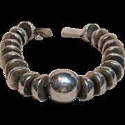 Fabulous & Heavy Ball Sterling Silver Bracelet Taxco