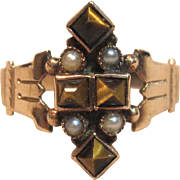 Fabulous Antique Victorian Tiger's Eye Rose Gold Ring with Seed Pearls Late 1800's.