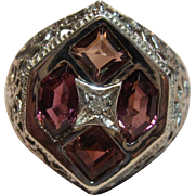 Timeless Rhodolite Garnet Filigree Ring in 14K White Gold
