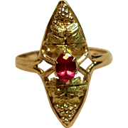 Vintage Black Hills Gold Ring in 14K Multi Tone Gold with Ruby