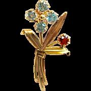 Vintage Solid 10K Garnet & Blue Topaz Flower Brooch