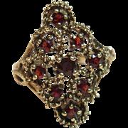 Impressive Vintage Cluster Garnet Ring in 9K Gold