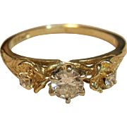 Vintage Blooming Flower Diamond Ring in 14K Yellow Gold