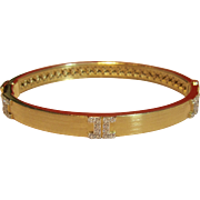 "Elegant Ivanka Trump ""Metropolis Collection"" Diamond Hinged Bangle Bracelet Set in 18K Gold"