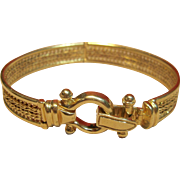 Exquisite Buckle Style Hinged Bangle Bracelet in 14K Yellow Gold