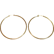 "Beautiful 2 3/8"" High Polished Hoop Earrings in 14K Yellow Gold"