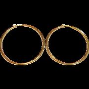"Beautiful 2 3/8"" High Polished Hoop Earrings in 14K Yellow Gold"