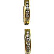 Lovely Huggie Diamond Earrings in Solid 10K Yellow Gold