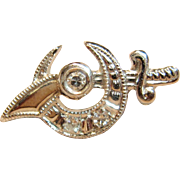 Vintage Masonic Shriner Lapel Pin With Diamonds set in 14K White Gold