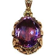 19.5ct. Vintage natural Amethyst Pendant with Ornate Mounting