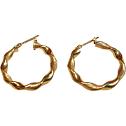Delicate Twist Hoop Earrings in 14K Yellow Gold