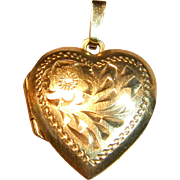 Lovely Vintage Heart Locket Pendant in 10K Yellow Gold