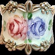 Very Pretty Vintage Enamel Ring in Sterling Silver