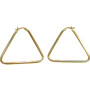Stylish & Durable Triangular Shape Hoop Earrings in 14K Yellow Gold