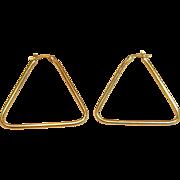 Stylish & Durable Triangular Shape Hoop Earrings in 14K Yellow Gold