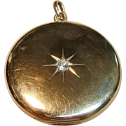Stunningly Detailed Vintage Locket Pendant with Diamond in 10K Yellow Gold