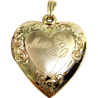 "Sentimental ""MOM"" Heart Locket Pendant in 14K Yellow Gold"