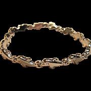 Adorable 3D Dolphin Bracelet in 10K White Gold