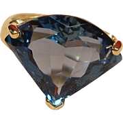 Striking Art Deco Design London Blue Topaz Ring in 14K Yellow Gold