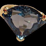 Striking Art Deco Design London Blue Topaz Ring in 14K Yellow Gold