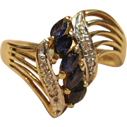 Rich Blue Sapphires with Diamond Accents in 14K Gold