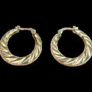 Stylish Hoop Earrings in 10K Yellow Gold
