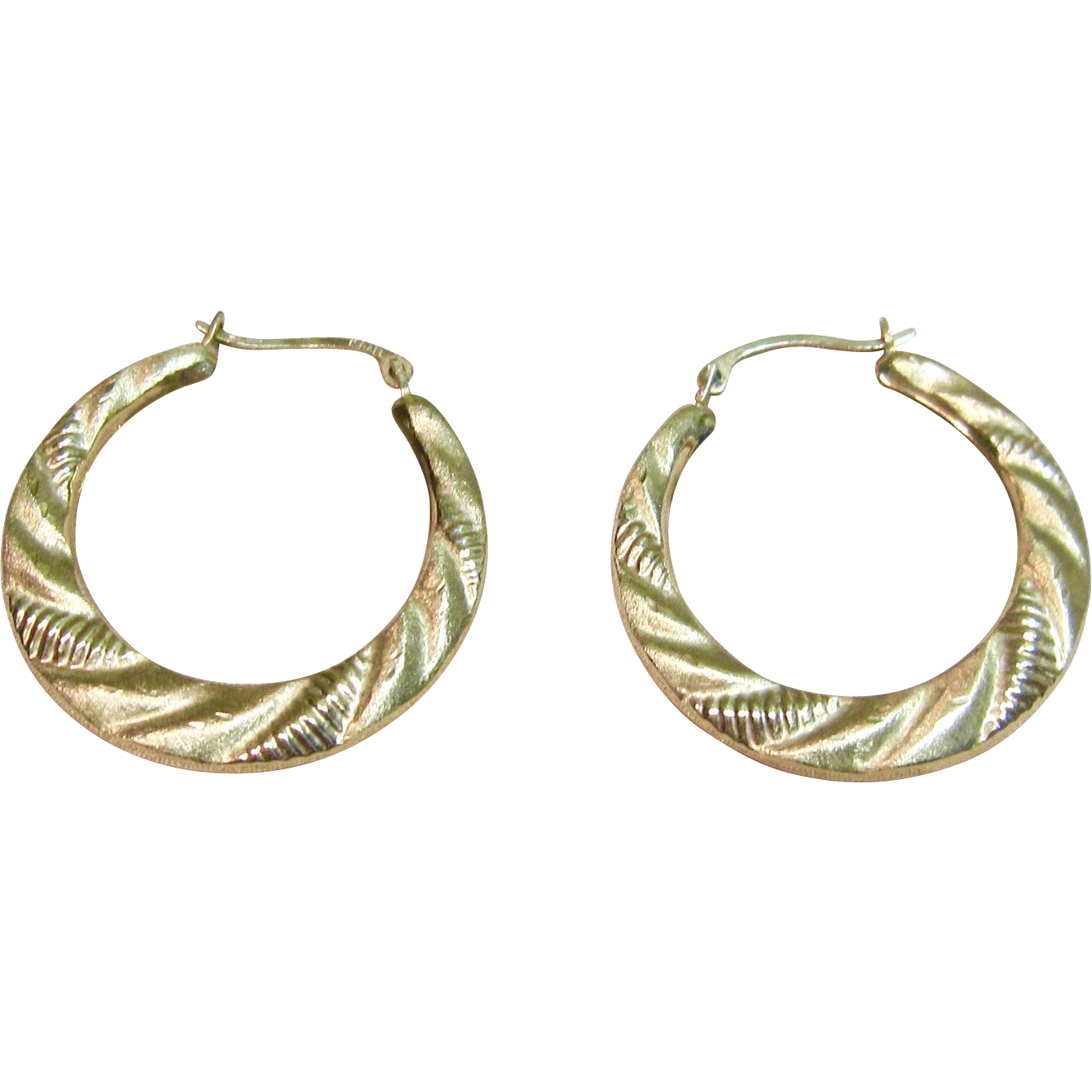 Stylish Hoop Earrings In 10k Yellow Gold